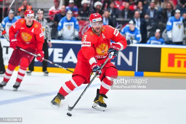 Alexander Ovechkin of Russia controls the puck during the 2019 IIHF Ice Hockey World Championship Slovakia semi final game between Russia and Finland...
