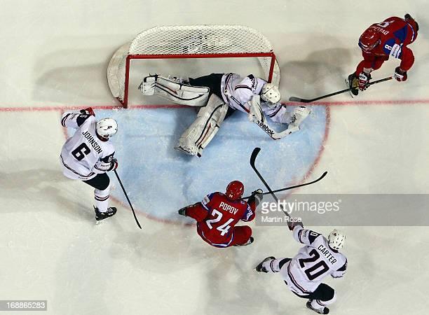 Alexander Ovechkin of Russia fails to score over John Gibson , goaltender of USA during the IIHF World Championship quarterfinal match between Russia...