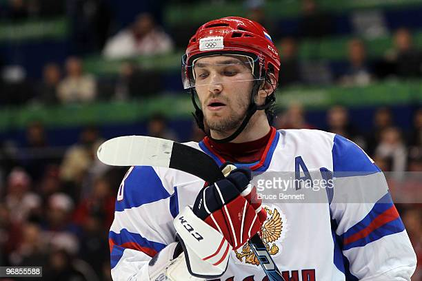 Alexander Ovechkin of Russia looks on during the ice hockey men's preliminary game between Slovakia and Russia on day 7 of the 2010 Winter Olympics...