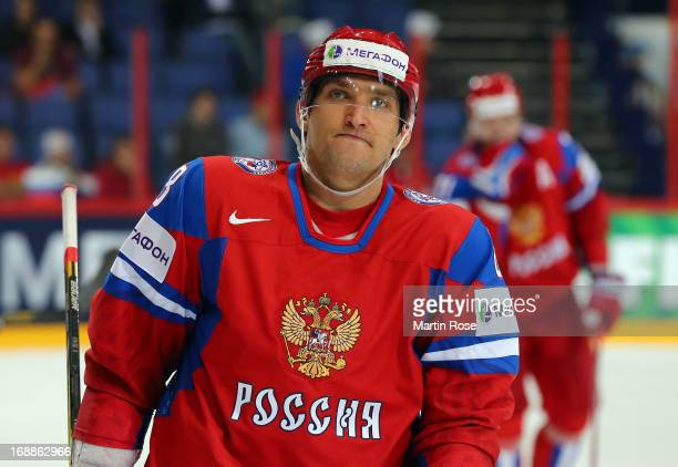 Alexander Ovechkin of Russia reacts during the IIHF World Championship quarterfinal match between Russia and USA at Hartwall Areena on May 16 2013 in...