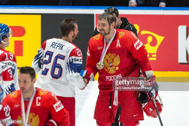 Alexander Ovechkin of Russia shakes hands with Michal Repik of Czech Republic during the 2019 IIHF Ice Hockey World Championship Slovakia third place...