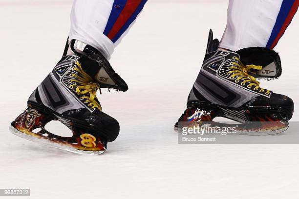 Alexander Ovechkin of Russia skates during the ice hockey men's preliminary game between Slovakia and Russia on day 7 of the 2010 Winter Olympics at...