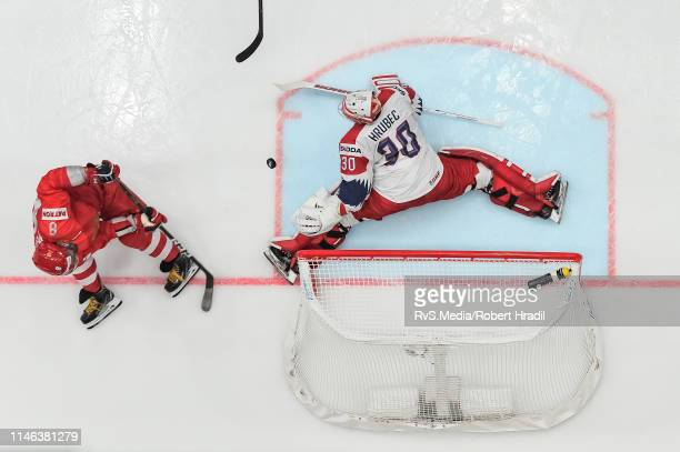 Alexander Ovechkin of Russia tries to score against Goalie Simon Hrubec of Czech Republic during the 2019 IIHF Ice Hockey World Championship Slovakia...