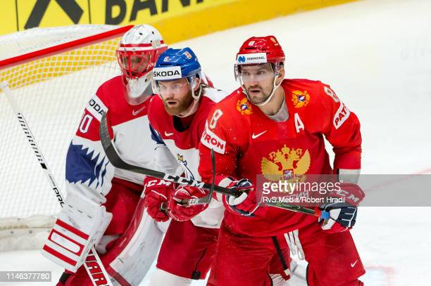 Alexander Ovechkin of Russia vies with David Musil of Czech Republic during the 2019 IIHF Ice Hockey World Championship Slovakia third place playoff...