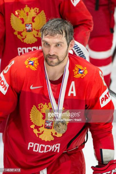 Alexander Ovechkin of Russia with bronze medal after the 2019 IIHF Ice Hockey World Championship Slovakia third place playoff game between Russia and...