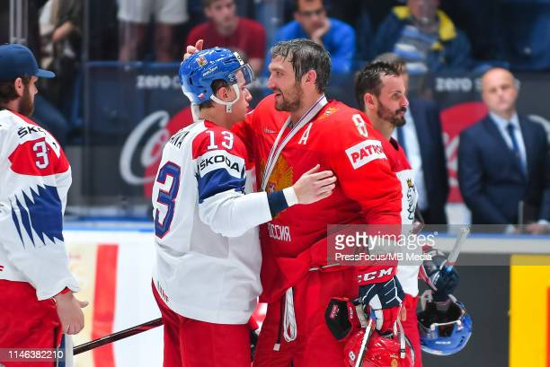 Alexander Ovechkin of Russia with bronze medal talks with Jakub Vrana of Czech Republic during the 2019 IIHF Ice Hockey World Championship Slovakia...