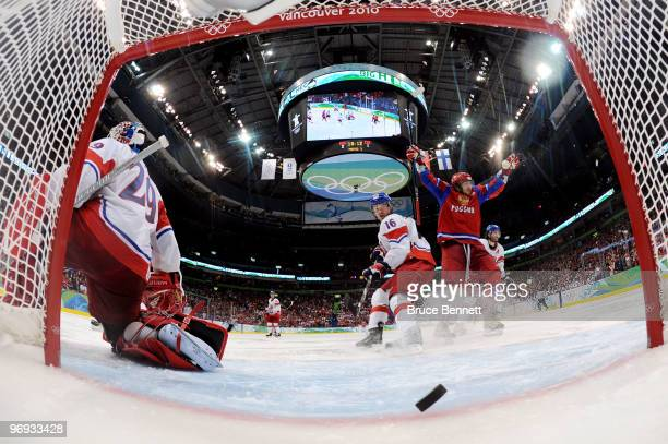Alexander Ovechkin of Russian Federation celebrates as the puck crosses the line for a third period goal scored by Evgeni Malkin against goalie...