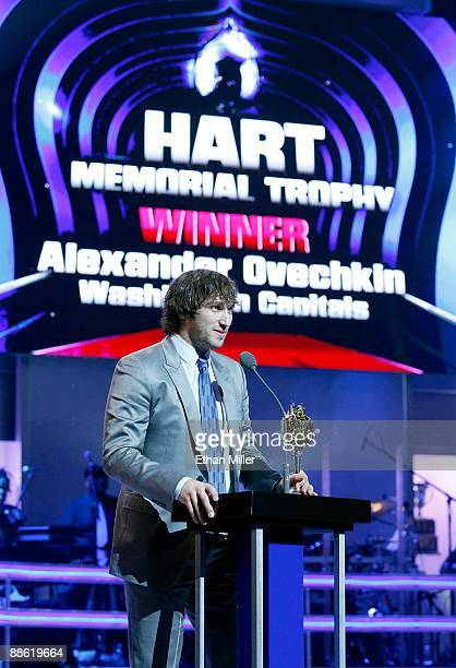 Alexander Ovechkin of the Washington Capitals accepts the Hart Memorial Trophy during the 2009 NHL Awards at The Pearl concert theater at the Palms...