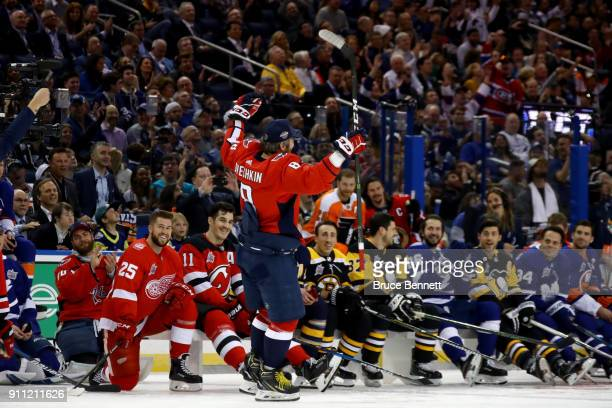 Alexander Ovechkin of the Washington Capitals celebrates after competing in the PPG NHL Hardest Shot during the 2018 GEICO NHL AllStar Skills...