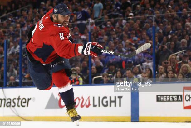 Alexander Ovechkin of the Washington Capitals competes in the PPG NHL Hardest Shot challenge during 2018 GEICO NHL AllStar Skills Competition at...