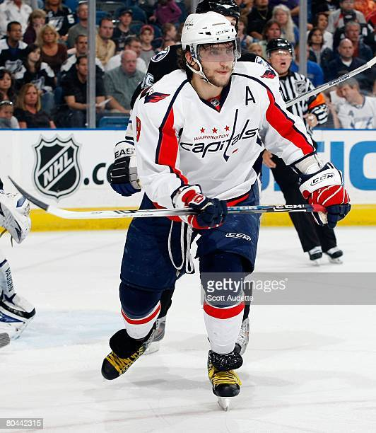 Alexander Ovechkin of the Washington Capitals skates against Tampa Bay Lightning at St. Pete Times Forum on March 27, 2008 in Tampa, Florida.