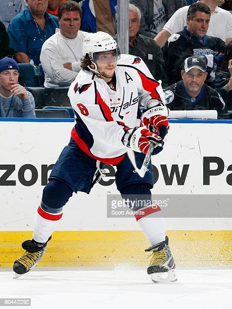 Alexander Ovechkin of the Washington Capitals skates against the Tampa Bay Lightning at St. Pete Times Forum on March 27, 2008 in Tampa, Florida.