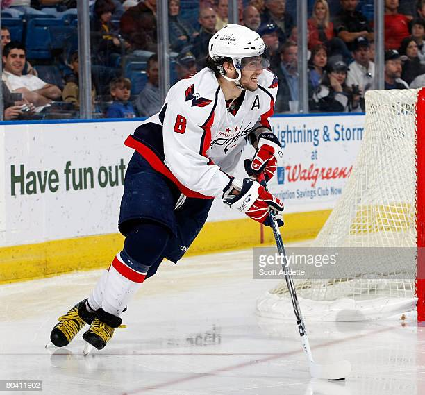 Alexander Ovechkin of the Washington Capitals skates with the puck against the Tampa Bay Lightning at St. Pete Times Forum on March 27, 2008 in...