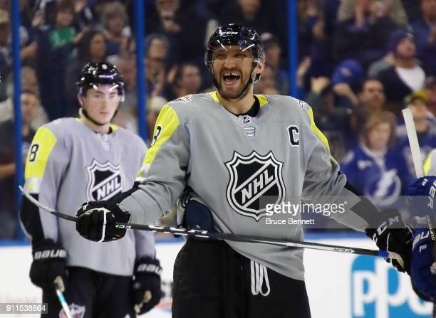 Alexander Ovechkin of the Washington Capitals takes part in the 2018 Honda NHL AllStar Game between the Atlantic Division and the Metropolitan...