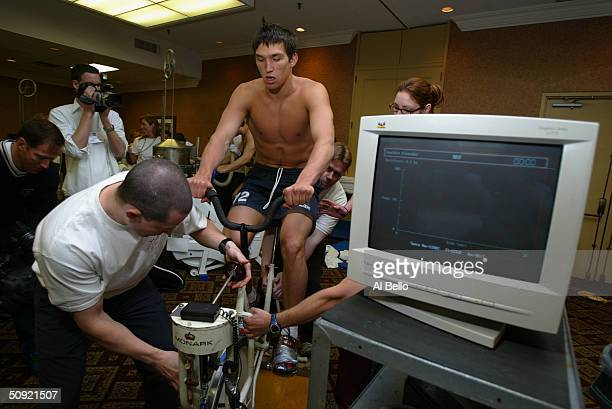 Alexander Ovechkin rides an exercise bike during the NHL Entry Draft Testing at the Park Plaza Hotel on May 29, 2004 in Toronto, Canada.
