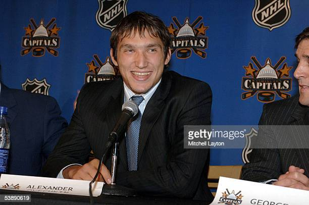 Alexander Ovechkin the Washington Capitals 2004 first round draft pick is introduced at a press conference September 1 2005 at the MCI Center in...