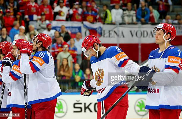Alexander Ovetchkin of Russia looks dejected after losing the IIHF World Championship gold medal match between Canada and Russia at O2 Arena on May...