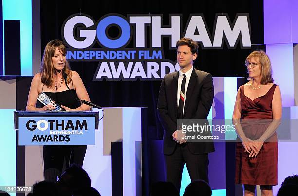 Alexander Payne and Chris Hegedus present director Katie Galloway with her award for 'Better This World' onstage at the IFP's 21st Annual Gotham...
