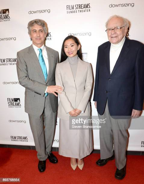 Alexander Payne Hong Chau and Warren Buffett attend the 'Downsizing' special screening at Dundee Theater on December 15 2017 in Omaha United States