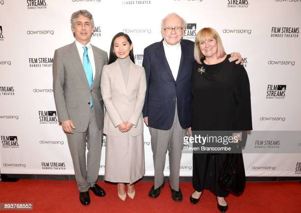 Alexander Payne Hong Chau Warren Buffett and Susie Buffett attend the 'Downsizing' special screening at Dundee Theater on December 15 2017 in Omaha...