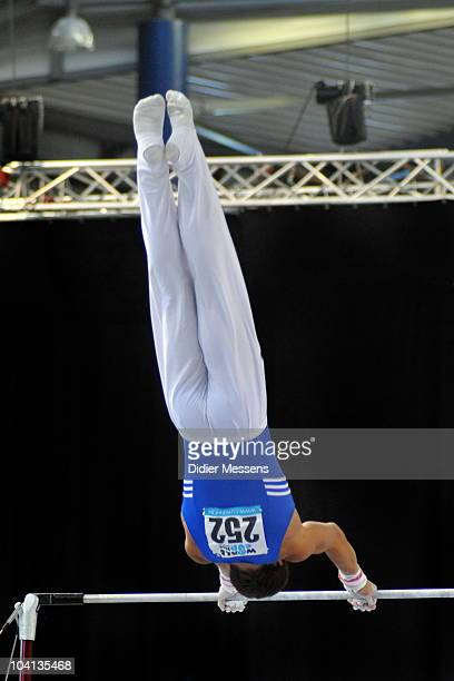 Alexander performs on horizontal bar during the qualifications of the Worldcup Gymnastics on September 11 2010 in Gent Belgium