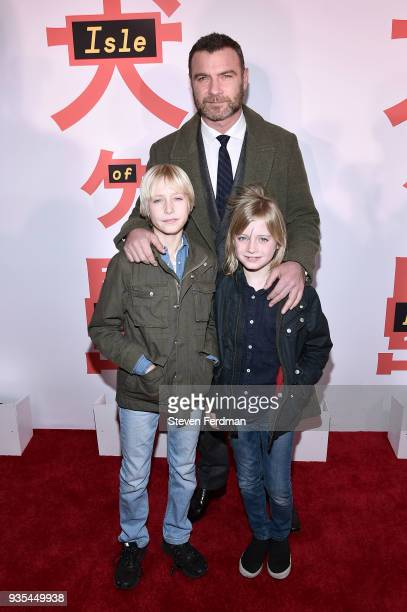 Alexander Pete Schreiber Liev Schreiber and Samuel Kai Schreiber attend the 'Isle of Dogs' New York Screening at Metropolitan Museum of Art on March...