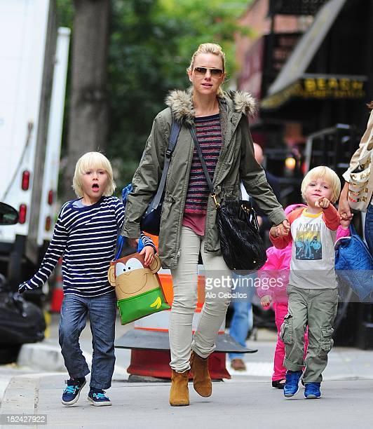 Alexander Pete Schreiber Naomi Watts and Samuel Kai Schreiber are seen in Tribeca on September 20 2012 in New York City