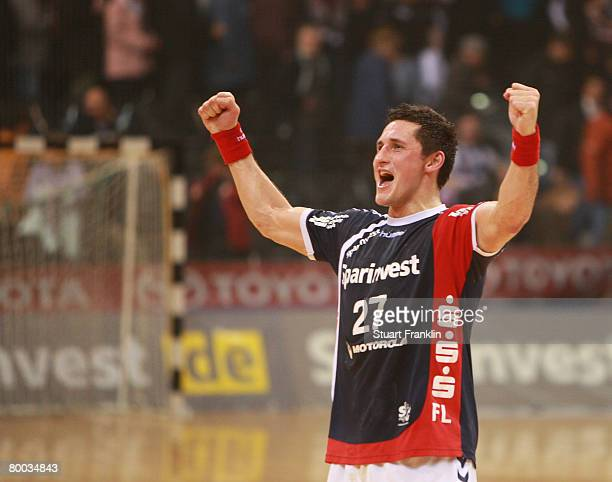 Alexander Petersson of Flensburg celebrates at the end of the Bundesliga match between SG FlensburgHandewitt and HSV Hamburg at the Campus Hall on...