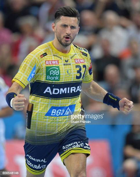 Alexander Petersson of Rhein Neckar celebrates during the first leg round of 16 EHF Champions League match between THW Kiel and Rhein Neckar Loewen...