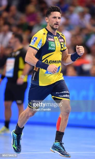 Alexander Petersson of RheinNeckar celebrates during the final of the DKB Handball Bundesliga Final Four between Hannover and RheinNeckar Loewen at...