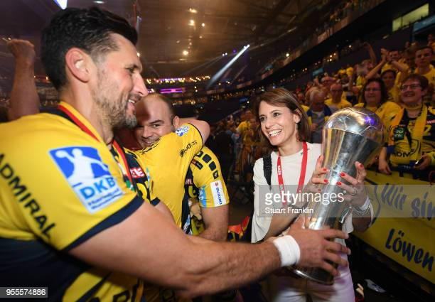 Alexander Petersson of RheinNeckar celebrates winning the final of the DKB Handball Bundesliga Final Four between Hannover and RheinNeckar Loewen at...