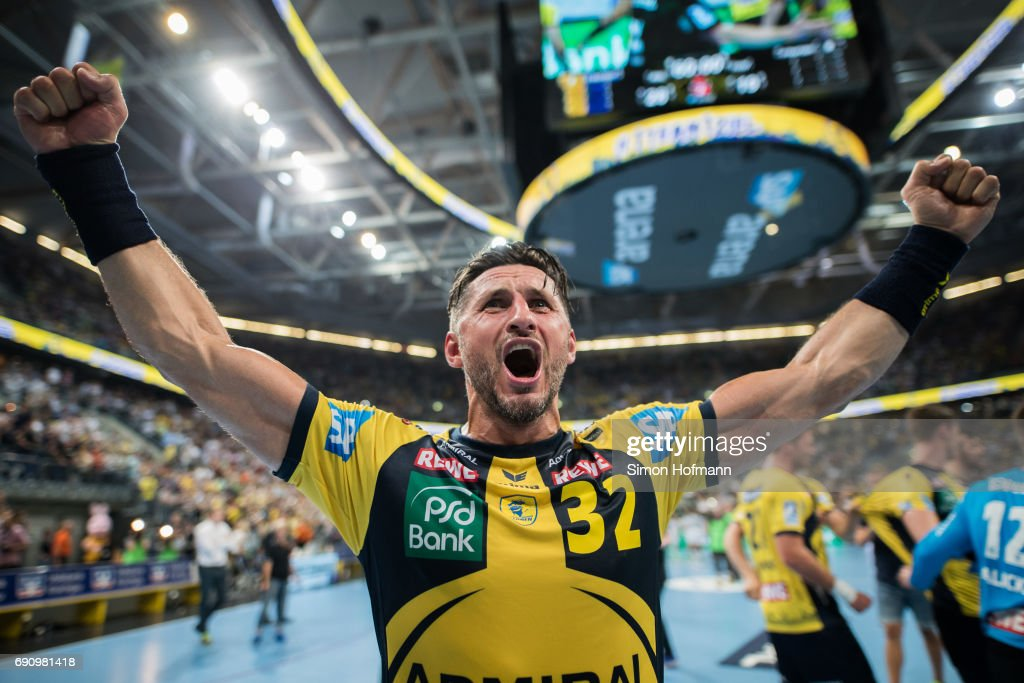Alexander Petersson of Rhein-Neckar Loewen celebrates after the DKB HBL match between Rhein-Neckar Loewen and THW Kiel at SAP Arena on May 31, 2017 in Mannheim, Germany.