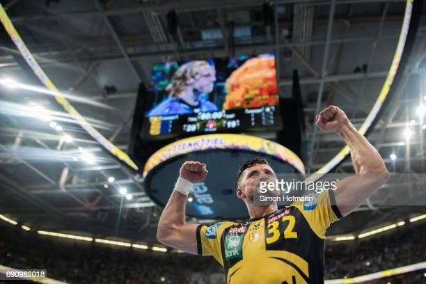 Alexander Petersson of RheinNeckar Loewen celebrates after the DKB HBL match between RheinNeckar Loewen and THW Kiel at SAP Arena on May 31 2017 in...