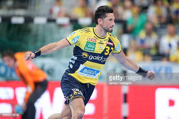 Alexander Petersson of RheinNeckar Loewen celebrates during the DKB Handball Bundesliga match between RheinNeckar Loewen and TSV HannoverBurgdorf at...