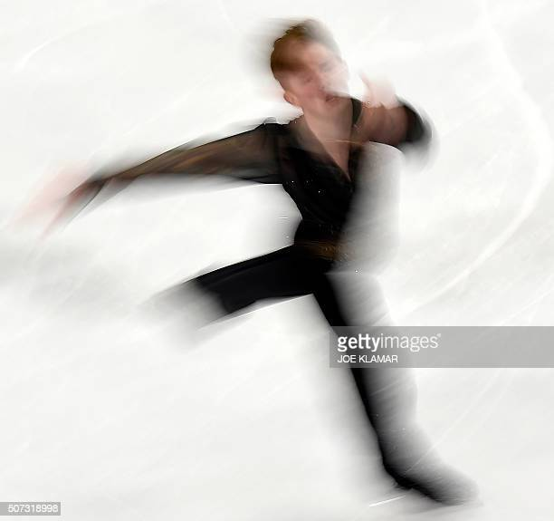 TOPSHOT Alexander Petrov of Russia competes during the men's free skating event of the European Figure Skating Championships in Bratislava Slovakia...