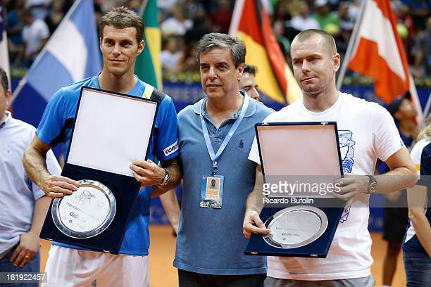 Alexander Peya from Austria and Bruno Soares from Brasil pose for a photo after winning the double final match against Frantisek Cermak from Czech...