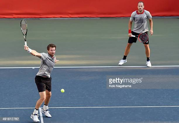 Alexander Peya of Austria and Bruno Soares of Brazil compete against Rajeev Ram of USA and Radek Stepanek of Czech Republic during the men's doubles...