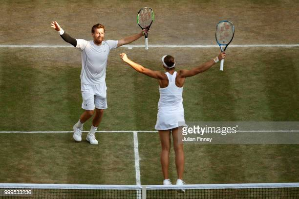 Alexander Peya of Austria and Nicole Melichar of The United States celebrate match point against Jamie Murray of Great Britain and Victoria Azarenka...