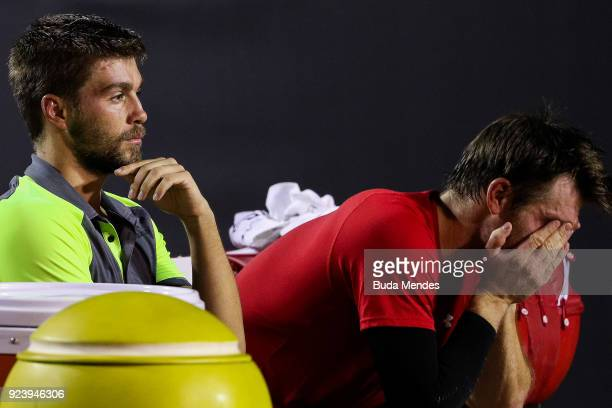Alexander Peya of Austria and Nikola Mektic of Croatia lament after losing to David Marrero and Fernando Verdasco of Spain during the doubles final...
