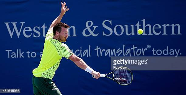 Alexander Peya of Austria returns a shot during their doubles match against JeanJulien Rojer of Netherlands and Horia Tecau of Romania during the...