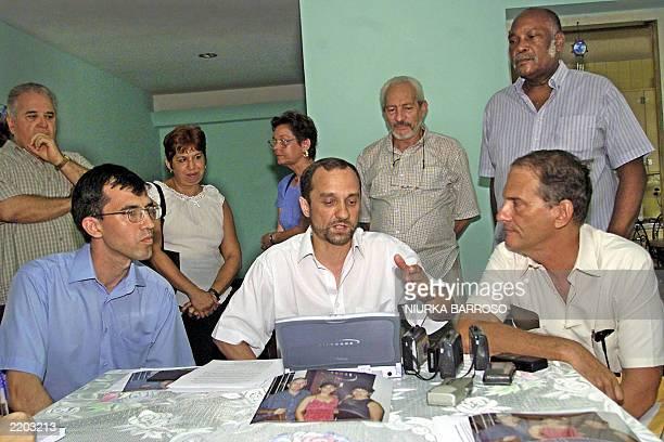 Alexander Pobradinek editorinchief of the Russian Press Agency Prima News and Azgar Ishkildin former Soviet Union dissident hold a press conference...