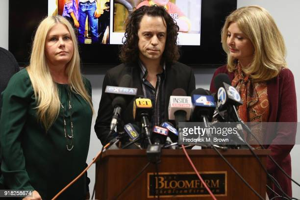 Alexander Polinsky speaks during a press conference with Nicole Eggert and his attorney Lisa Bloom regarding sexual harassment allegations against...