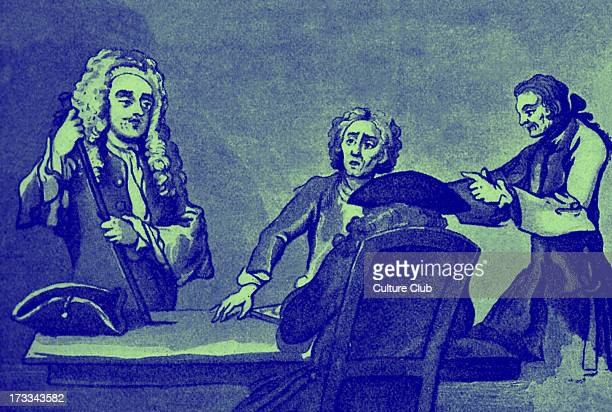 Alexander Pope and Sir Samuel Garth in Button's Coffee House from drawing by Hogarth Coffee house in Covent Garden London AP English author poet 21...