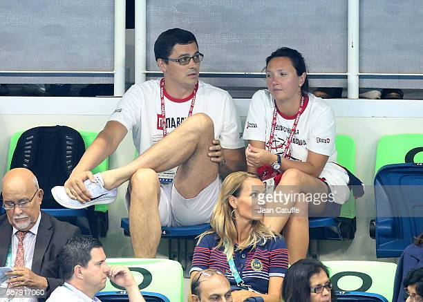 Alexander Popov and his wife Darya Popova attend the swimming finals on day 4 of the Rio 2016 Olympic Games at Olympic Aquatics Stadium on August 9...