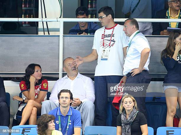 Alexander Popov of Russia attends the swimming finals on day 3 of the Rio 2016 Olympic Games at Olympic Aquatics Center on August 8 2016 in Rio de...