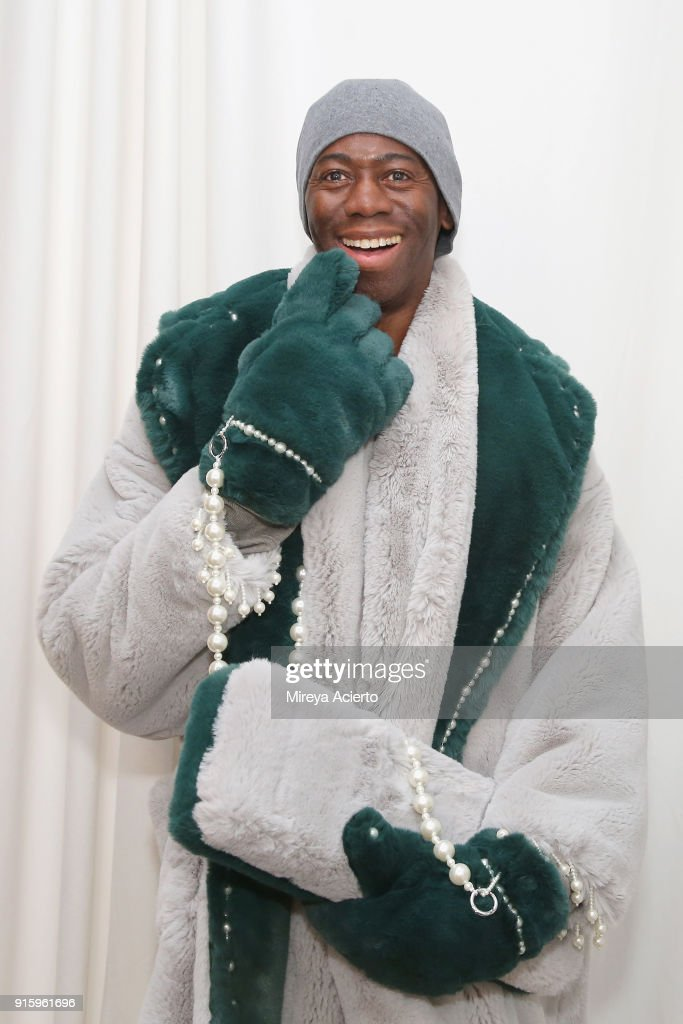 J. Alexander poses backstage for Ceremony: Xuly.Bet x Mimi Prober x Hogan McLaughlin during New York Fashion Week: The Shows at Industria Studios on February 8, 2018 in New York City.