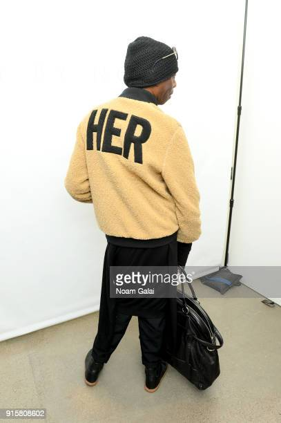 J Alexander poses jacket detail backstage for Noon By Noor during New York Fashion Week The Shows at Gallery II at Spring Studios on February 8 2018...