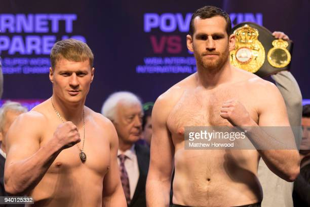 Alexander Povetkin and David Price during a weighin at the Motorpoint Arena on March 30 2018 in Cardiff Wales Anthony Joshua will fight Joseph Parker...