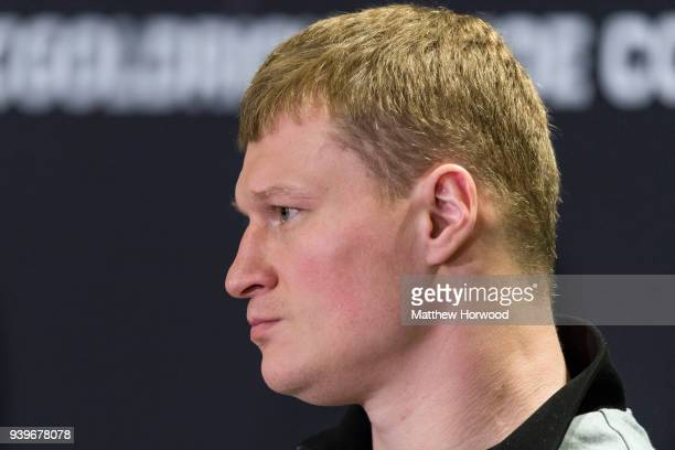 Alexander Povetkin at the undercard press conference ahead of the Anthony Joshua and Joseph Parker fight on March 29 2018 in Cardiff Wales Anthony...