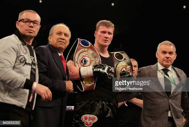 Alexander Povetkin celebrates with his team after beating David Price after there WBA InterContinental Heavyweight WBO International Heavyweight...